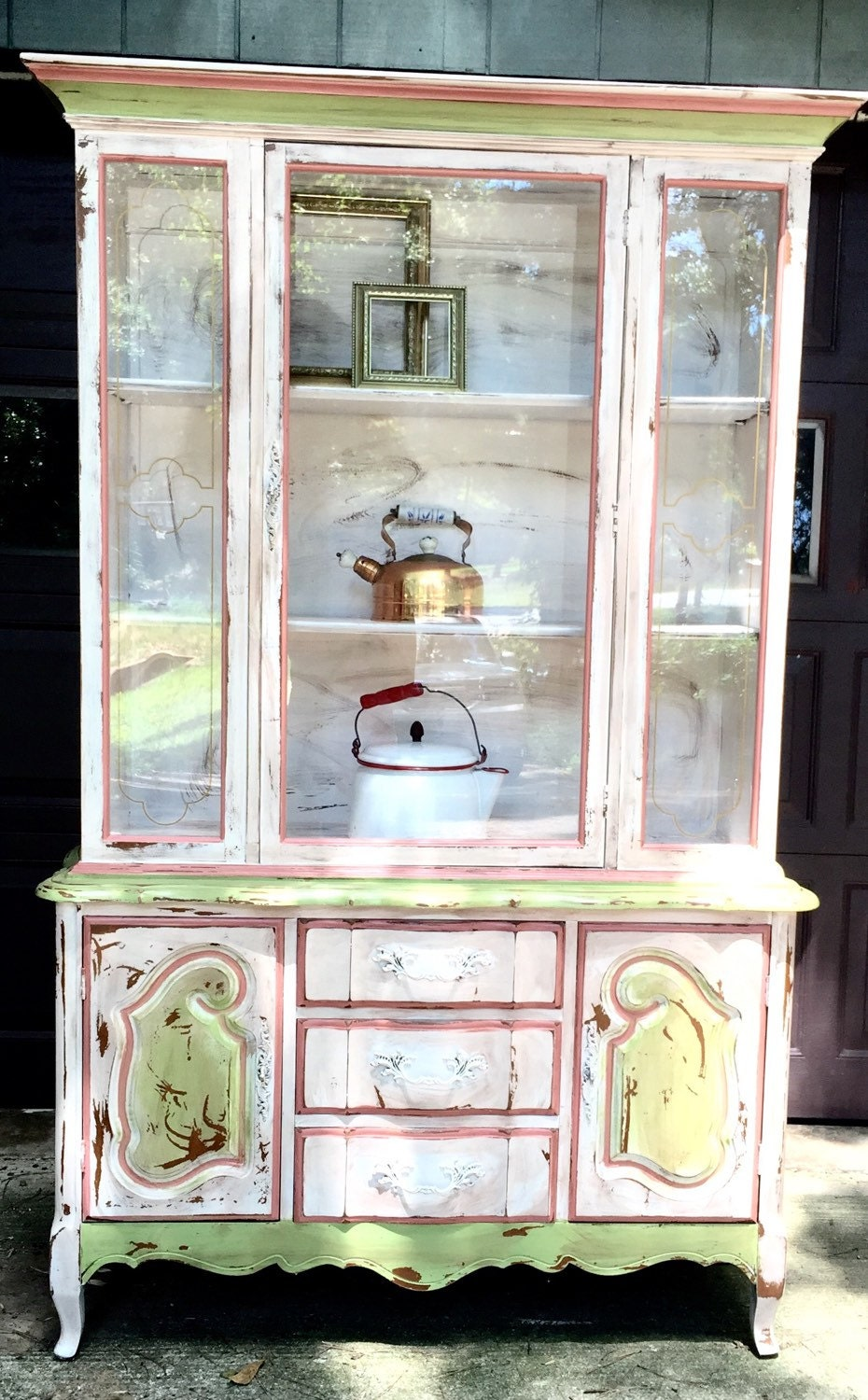 French Country Painted Hutch China Cabinet Painted Vintage
