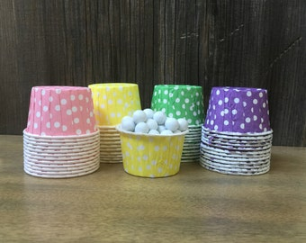 Rainbow Polka Dot Candy Cups-- Nut Cups--Birthday Party--Favor Cups--Baby Shower--Yellow, Pink, Purple and Green Candy Cups--24 or 48 Cups