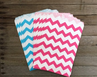 48 Pink and Blue--Favor Bag--Chevron Favor Sack--Candy Bag--Chevron Goodie Bag--Stripe Party Sack--Baby Shower Treat Sacks