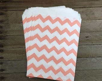 48 Peach Favor Bags--Chevron Favor Bags--Candy Favor Bags--Chevron Goodie Bags--Peach Chevron Party Sacks--Birthday Treat Sacks