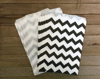 48 Black and Silver Favor Bag--Chevron Favor Sack--Black Silver Candy Goodie Bag--Goodie Bag--Party Sack--Birthday Treat Sacks