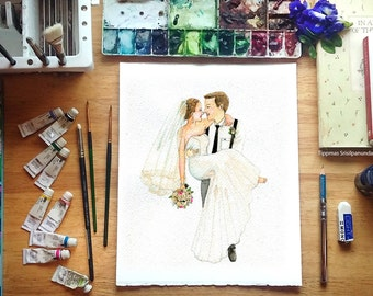 Custom Portrait, Custom Couple Portrait, illustration , Drawing, Wedding gift, Wall art.Save The Date