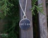 Vegan Hand Stamped Silver Charm Necklace
