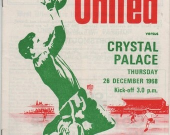 Vintage Football (soccer) Programme - Sheffield United v Crystal Palace, 1968/69 season