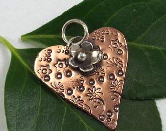 Copper and Sterling Heart Pendant, Silver Flower Embellishment, Mixed Metal Necklace