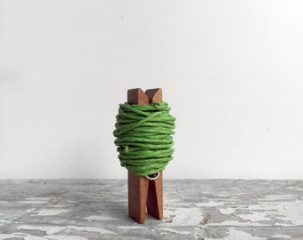 Green Paper Twine String - 16 ft on a chubby wooden clothespin, Gift wrapping, Twisted paper rope, Rustic string. St patricks day