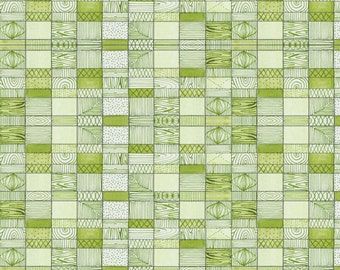 Green Cotton Fabric - Doodle box from The Adventurers by Cori Dantini for Blend Fabrics - 112 108 06 1 Priced by the Half Yard