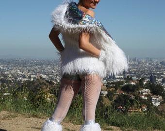 Women's Reversible Disco Hooded Fur Vest with Zipper Pockets // Burning Man Vest // Disco Vest