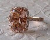 Peachy Pink Cushion Morganite in Rose Gold Diamond Halo Engagement Ring