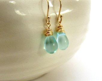 Small mint blue drop earrings, aqua glass earrings, gold fill Czech glass jewelry, delicate earrings, mint drop earrings, light blue jewelry