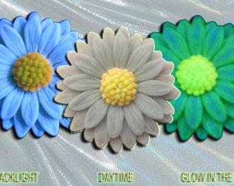 Aquamarine Blue Gray Daisy Pendant Handmade in the USA EyeGloArts Glow in the dark and blacklight jewelry