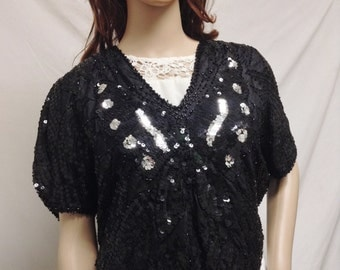 Sequin Butterfly Top ,blouse,Sequin, Black ,Silver ,Silk Lined, Small