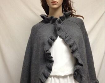 Poncho top,Gray Knit Poncho ,Wrap, Ruffled