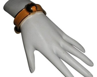 Authentic Hermes Vintage Grands H Logos Yellow Bracelet Cuff Rare
