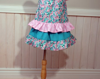 Girls ruffle outfit Girls ruffle skirt Girls size 3t Girls twirl skirt Girls peasant top Little girls skirt and top set READY TO SHIP