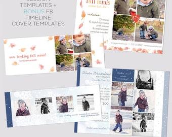 Mini Session Postcard Bundle - Photography Template - Flyer - Fall Minis - Winter session - Kids - bonus FB timelines - Freebie