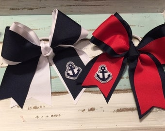 Nautical cheer size bows with pony holder