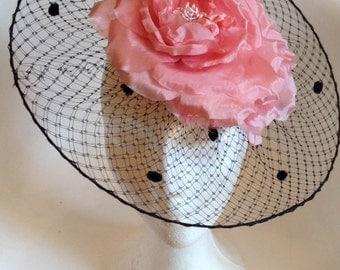 Black Net Headdress with Flower, Net Headpiece, Veil Headdress, Derby Hay, Races Hat, Ascot Hat, Party Hat