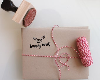 Happy Mail letter with wings, stamp it on everythingin your like, makes a great gift