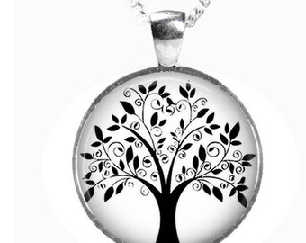 TREE OF LIFE - Glass Picture Pendant on Chain - Silver Plated (Art Print Photo J36)