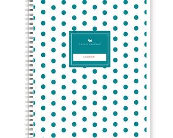 Preppy Polka Dot Personalized Spiral Notebook, School Supplies