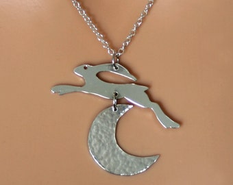Leaping Hare and Crescent Moon Sterling Silver pendant. Exclusive design. Fully UK hallmarked Sterling Silver. Eco-friendly silver.