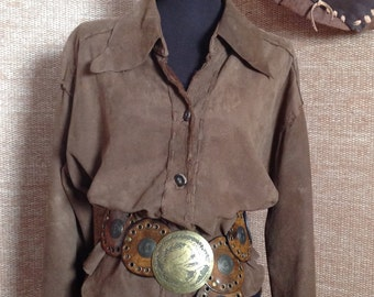 Suede Shirt for Ladies in Milk Chocolate.  Handmade.