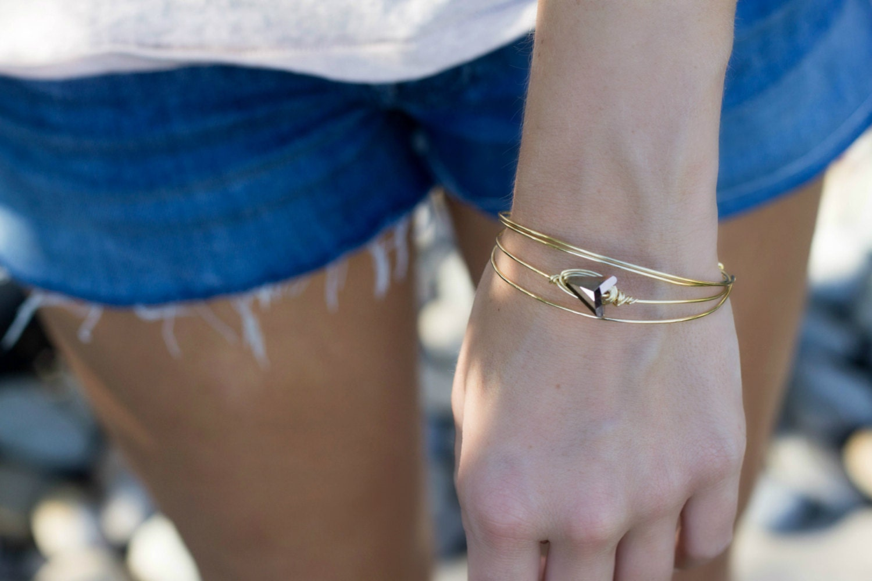 Arrow Bracelet, Gold Arrow Bangle, Stacking Bracelet, Layering Arrow Bracelet
