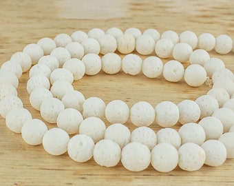8 mm White lava rock beads • Lava stone beads • White lava beads • Natural lava rock beads • 8 mm lava stone beads • White lava stone beads