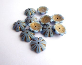 6 x Blue Flower Cap Beads, Czech Glass Beads, Blue Flower Beads, Bronze Flower Beads, Bell Flower Beads 14x4mm FLW0281