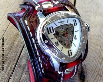 Leather watch, Steampunk Wrist Watch, Men's watch, Leather Cuff, Bracelet Watch, Red and Black Watch, Leather watch band