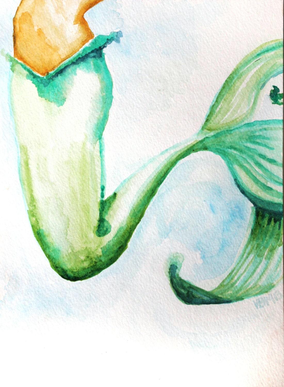 Fine Art Print Watercolor mermaid Fishtail
