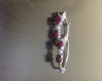 Ruby Earrings - Diamond Earrings - Ruby Hoop Earrings - Diamond Hoops - Handmade Earrings - Oval Ruby Earrings - Ruby Diamond Earrings