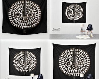 African Art - Art Tapestry Wall Tapestry Photo Tapestry / Featuring Exclusive Bobo Bwa Sun Mask Design / Large Wall Art ~ Wall Hanging