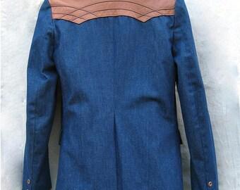 70s Pioneer Wear Denim Western Jacket with Leather Yoke.