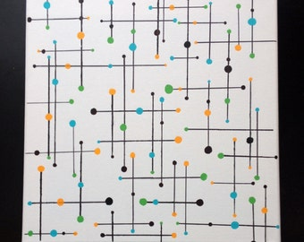"Mid Century Modern Linear Geometric Wall Art -Painting 12""x 12"" Canvas"