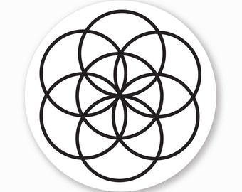 "1 ""Seed of Life"" Sacred Geometry Vinyl Bumper Sticker - Indoor or Outdoor - FREE SHIPPING"