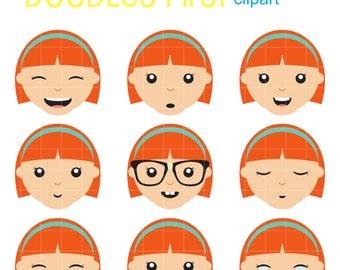 Girl Facial Expressions Clip Art for Scrapbooking Card Making Cupcake Toppers Paper Crafts