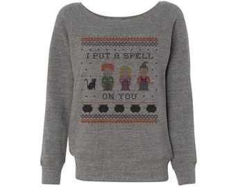 I Put a Spell on You Hocus Pocus Wideneck Halloween Sweater, Off The Shoulder Sweater, Sanderson Sisters, Hocus Pocus Shirt