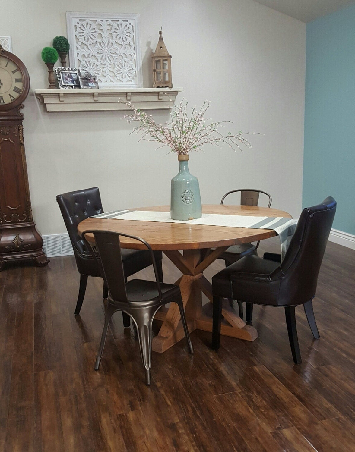 rustic handmade round farmhouse table by ModernRefinement on Etsy