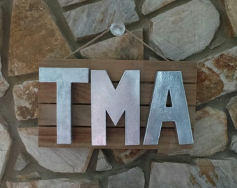 Custom Faux Metal Initial Wooden Pallet (1, 2, or 3 Initials: A-Z, 0-9, and AMPERSANDS Available)