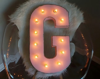 """Metal Light Up Letters Marquee Distressed Light Pink 21"""" Sign - CUSTOM COLORS AVAILABLE"""