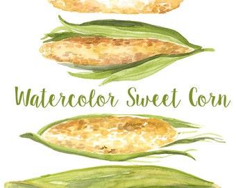 Watercolor Sweet Corn, Corn Clip Art, Corn Clipart, Iowa Clipart, Veggie Clip Art, Vegetable Clipart, Sweet Corn Artwork, Farm Clipart