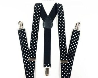men's suspenders, POLKA DOT, black suspenders, black suspender, dark wine suspenders, white polka dot suspenders, black and white wedding