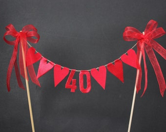 Ruby 40th anniversary cake topper, cake bunting, cake flags, red fabric and metallic hearts, metallic fabric numbers and organza ribbon