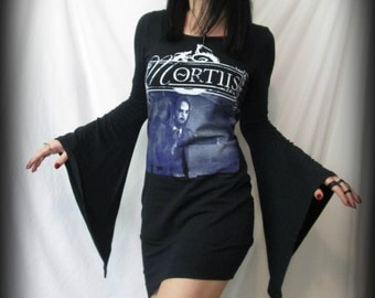 MORTIIS Dress Long Flare Sleeve Asymmetric Goth Black Metal Reconstructed Women's Band T-Shirt