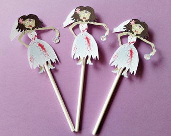 12 ct Zombie Bride Cupcake Toppers