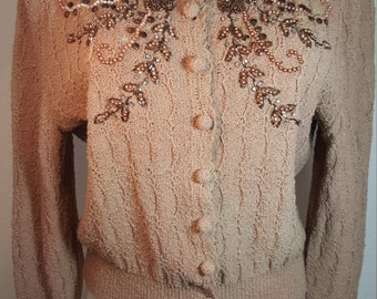 FREE  SHIPPING    1950  Beaded Wool Cardigan