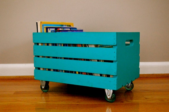 painted blue teal rustic crate with casters toy storage bin. Black Bedroom Furniture Sets. Home Design Ideas