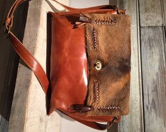 Cross body bag, caramel leather purse, tan leather bag, crossbody caramel purse